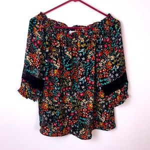 New York & Company black floral top.…